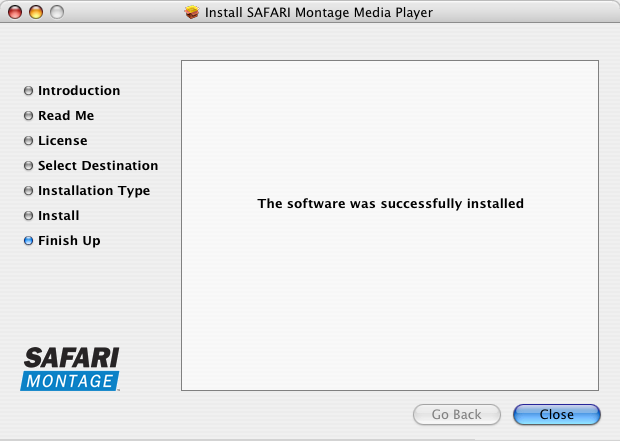 Safari Montage Media Player Installation Guides